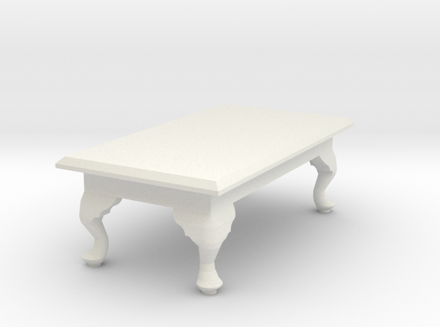 1:24 Queen Anne Coffee Table, Rectangular in White Strong & Flexible
