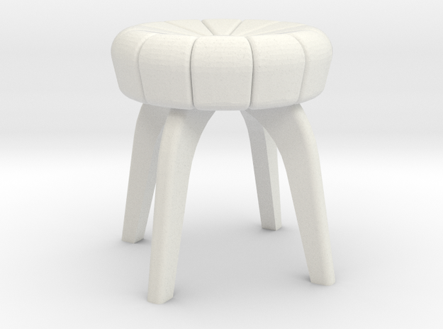 1:24 Flower Tufted Stool in White Natural Versatile Plastic