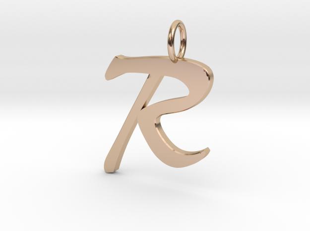 RClassic Script Initial Pendant Letter  in 14k Rose Gold