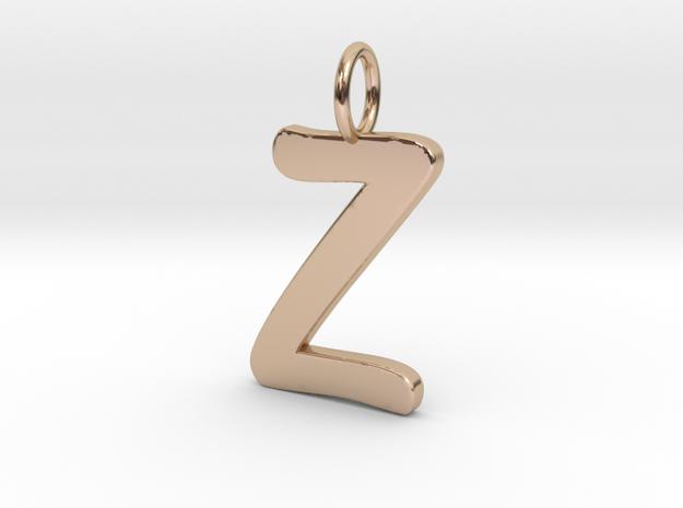 Z Classic Script Initial Pendant in 14k Rose Gold