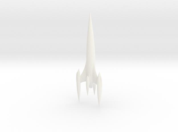 Retro Rocket 5 Miniature (Large) in White Processed Versatile Plastic