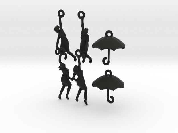 earring set: Umbrella girls 3d printed