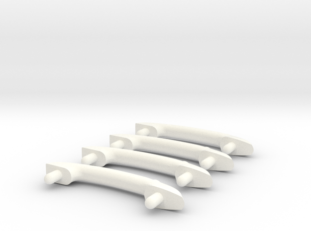 Scale Helicopter Handle C28mm in White Strong & Flexible Polished