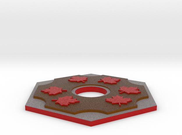 Catan Hex Tile Wood Mapleleaf 79mm in Full Color Sandstone