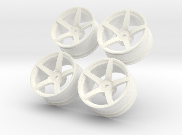1/10 Touring Car Vossen CV3 Wheel Set  in White Processed Versatile Plastic