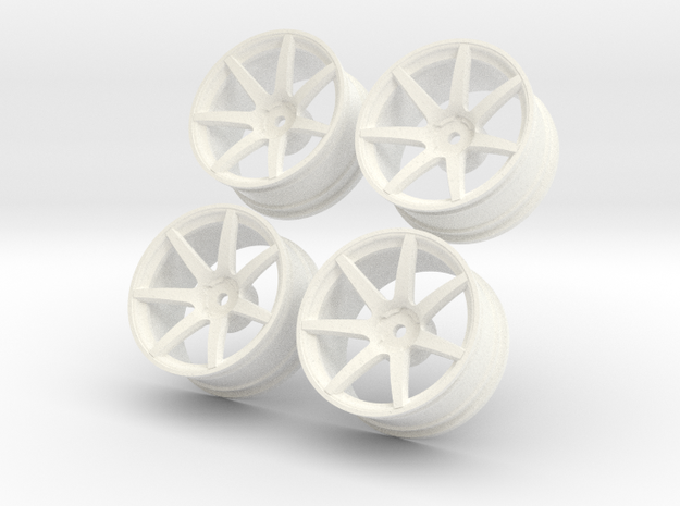 1/10 Touring Car Vossen CV7  Wheel Set  in White Processed Versatile Plastic