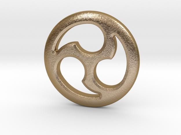 """Tomoe Medallion 1"""" in Polished Gold Steel"""