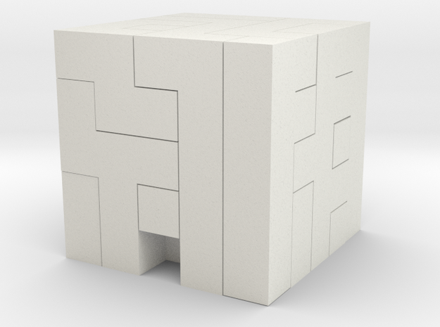 Puzzle Block Jj1 in White Natural Versatile Plastic