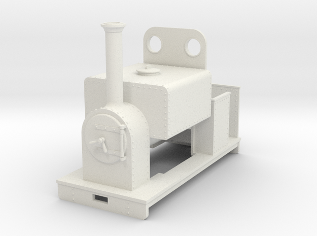 Gn15 loco square saddle tank with weatherboard in White Natural Versatile Plastic