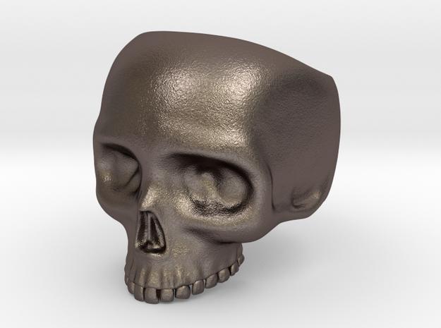 Skull Ring - Size 10 (inner diameter = 19.76 mm) in Polished Bronzed Silver Steel