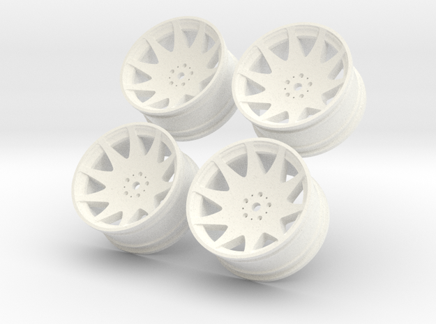 1/10 Touring Car MRR HR3 Wheel Set  in White Processed Versatile Plastic
