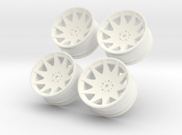 1/10 Touring Car MRR HR3 Wheel Set  in White Processed Versatile Plastic