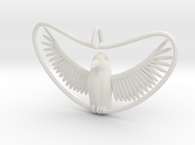 Bird Pendant in White Natural Versatile Plastic
