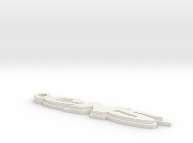 CNS Key Chain 66mm 2.6Inch Long 3mm Thick in White Natural Versatile Plastic