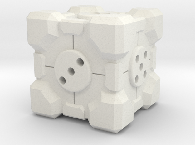 Companion Cube d6 Alternate in White Natural Versatile Plastic