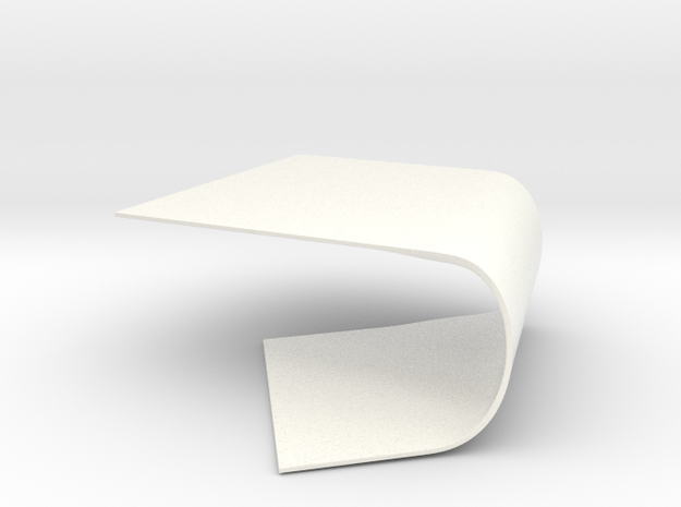 Warped Surface Table in White Processed Versatile Plastic
