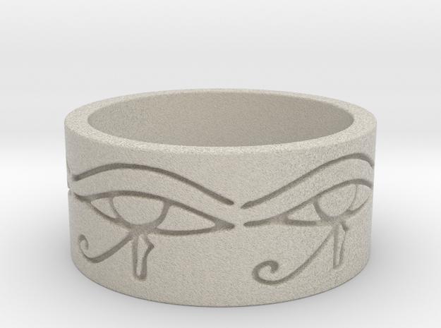 Egyptian Eye Of Horus Ring Size 7 in Sandstone