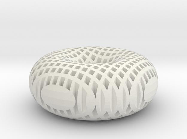 Hollow Mesh Torus in White Natural Versatile Plastic