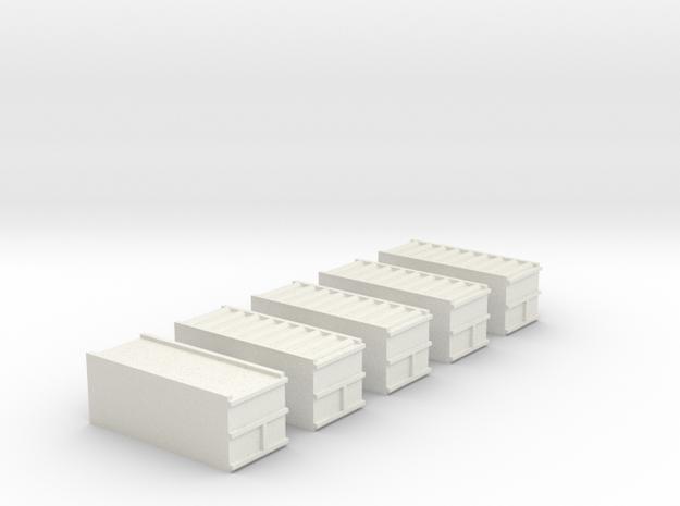 "1/700 20"" Container Stack (x5) in White Natural Versatile Plastic"