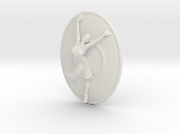 Joyful Dancer Necklace Pendant With Circle in White Natural Versatile Plastic