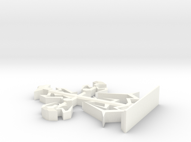 Intricate Medieval Cross Small in White Processed Versatile Plastic