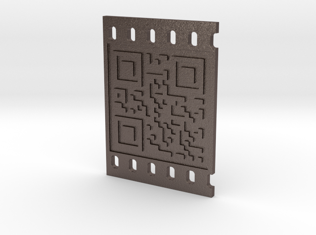 OCCUPY NEW YORK QR CODE 3D in Polished Bronzed Silver Steel