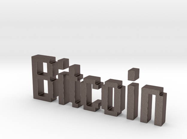 Bitcoin 3D in Polished Bronzed Silver Steel