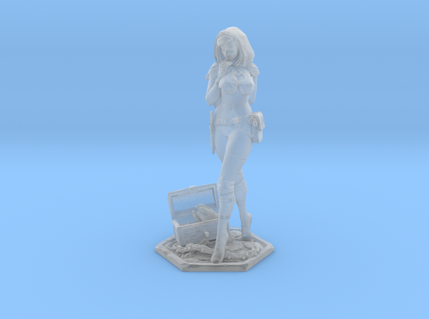 Female Thief 40mm Game Piece 3d printed Printed Miniature size comparison