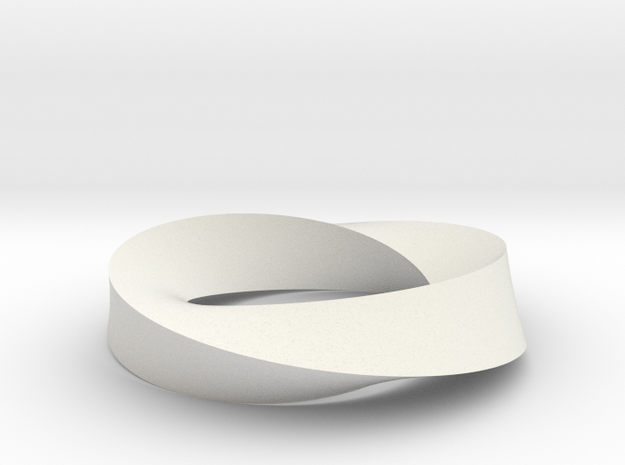 Mobius Loop - Triangle 2/3 twist in White Natural Versatile Plastic