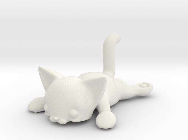 Flat Cat in White Strong & Flexible