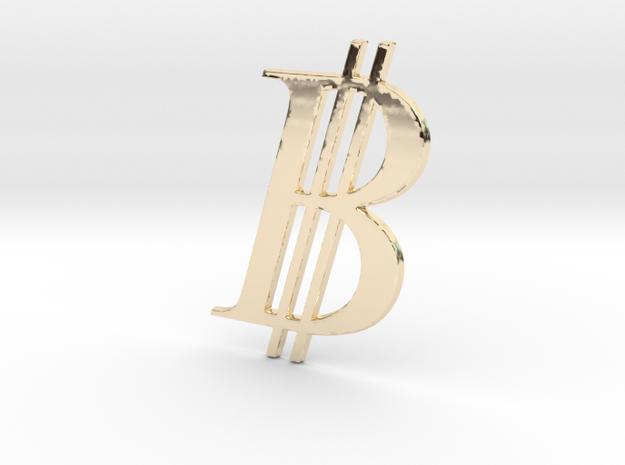 Bitcoin Logo 3D in 14K Yellow Gold