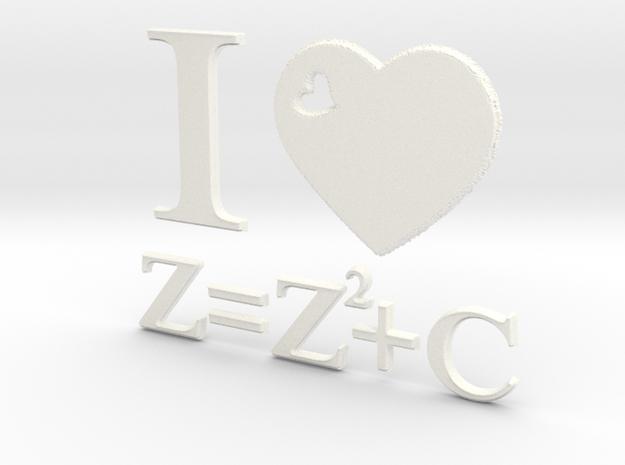 I Love Mandelbrot Z=Z^2+C 3D in White Processed Versatile Plastic