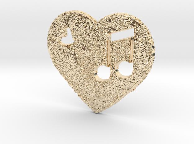 Love Music Heart 3D in 14K Yellow Gold
