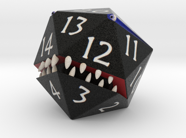 D20 Black Monster Figurine in Full Color Sandstone