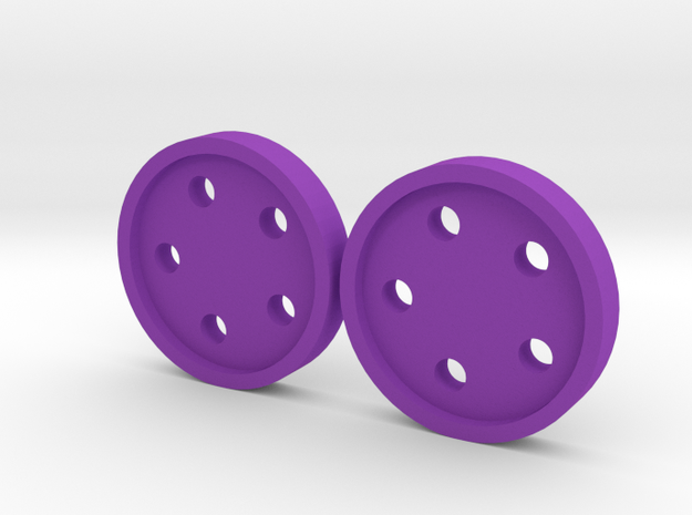 "5/8"" five-holed buttons (two) 3d printed printed in violet S+F"
