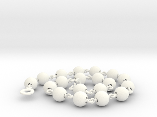 Smooth Ball Necklace - 46cm in White Processed Versatile Plastic