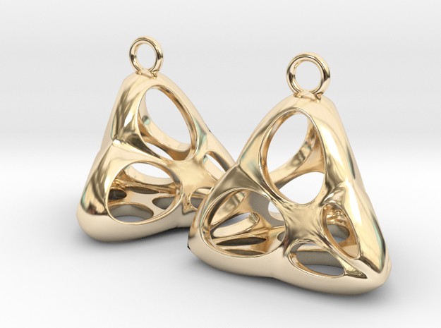 Irene Earrings (silver) in 14K Yellow Gold