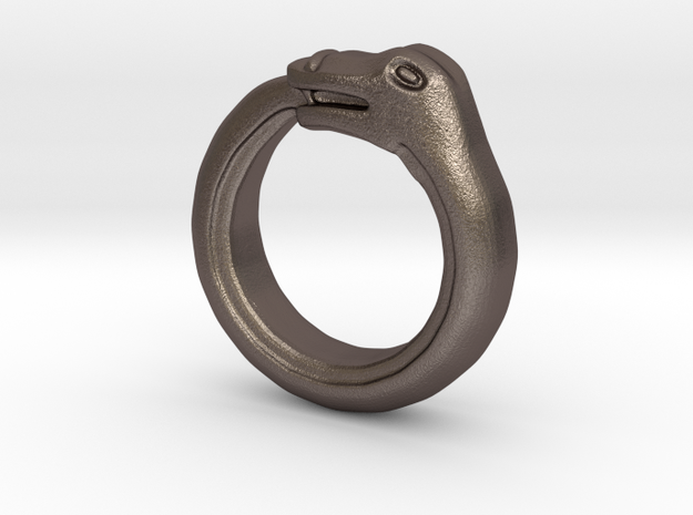 Ouroboros Ring in Polished Bronzed Silver Steel