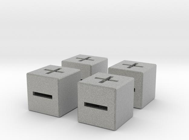 4 x 20mm Fate Dice with Medium Walls in Metallic Plastic