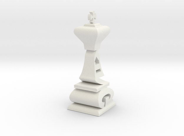 Typographical King Chess Piece in White Natural Versatile Plastic