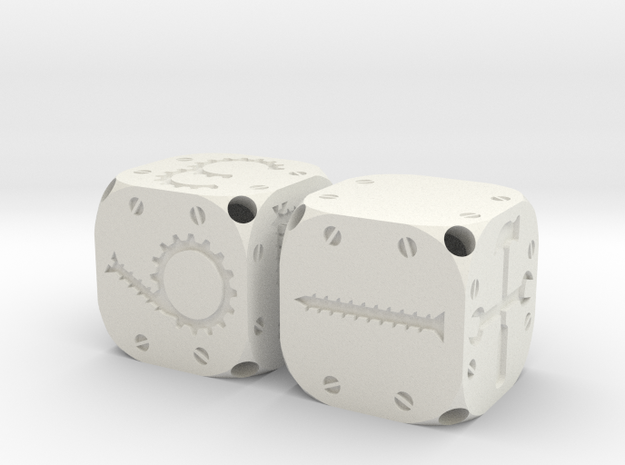 Tinker Dice (Plastic) in White Natural Versatile Plastic