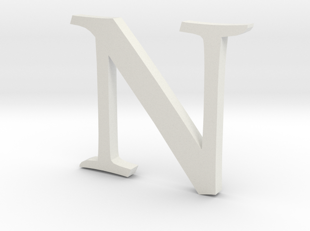 N (letters series) in White Natural Versatile Plastic