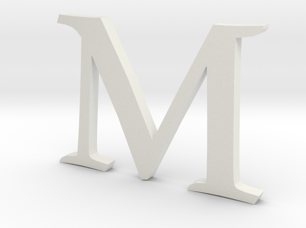 M (letters series) in White Natural Versatile Plastic
