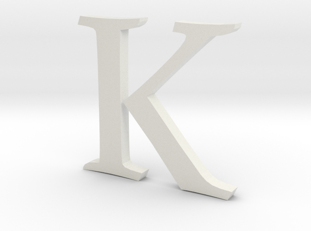 K (letters series) in White Natural Versatile Plastic