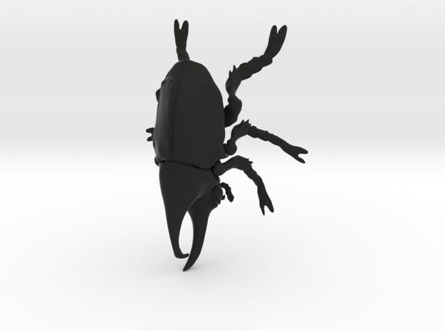 Rhino Beetle small in Black Natural Versatile Plastic