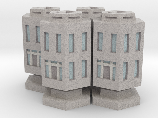 WHAM- Stackable Buildings w/ Rubble x4 (1/285th) in Full Color Sandstone