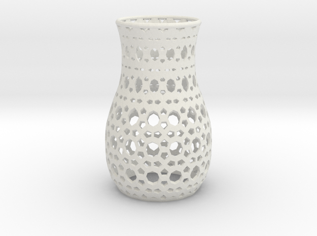 Geometric Tealight Sleeve - Large in White Natural Versatile Plastic