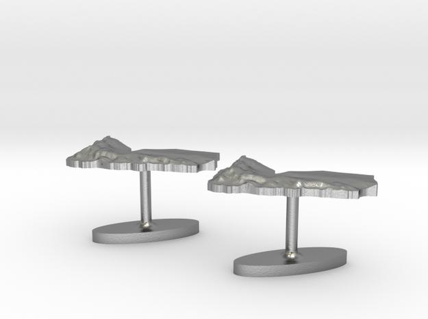 Yemen Terrain Cufflink Pair - Flat 3d printed
