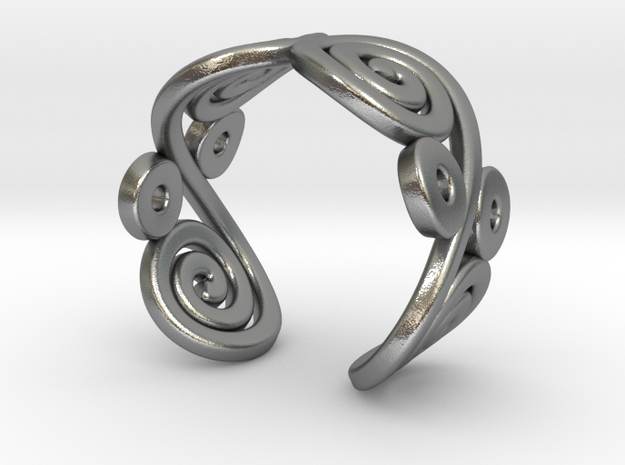 2 Spirals and ovals ring 3d printed 2 Spirals and ovals ring (Gold plated brass)