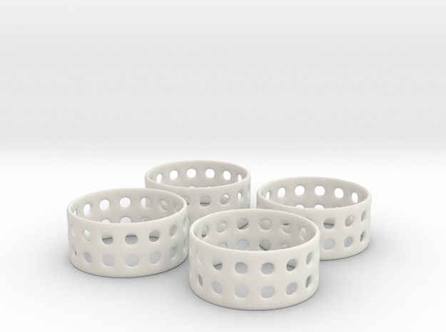 Double Bubble Napkin Rings (4) in White Natural Versatile Plastic
